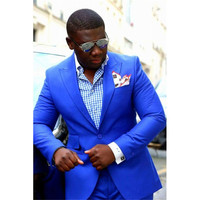 2018 Royal Blue Fashion Slim Fit African Male mens suit Peak Lapel Custom Made Groom Tuxedos Men Suits Wedding Sets Jacket+Pants
