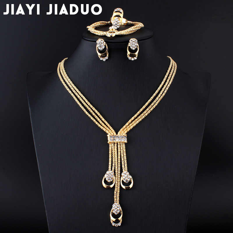 jiayijiaduo New fashion Women Vintage Gold-color Bridal Rhinestone nigerian wedding african beads jewelry set crystal  wedding