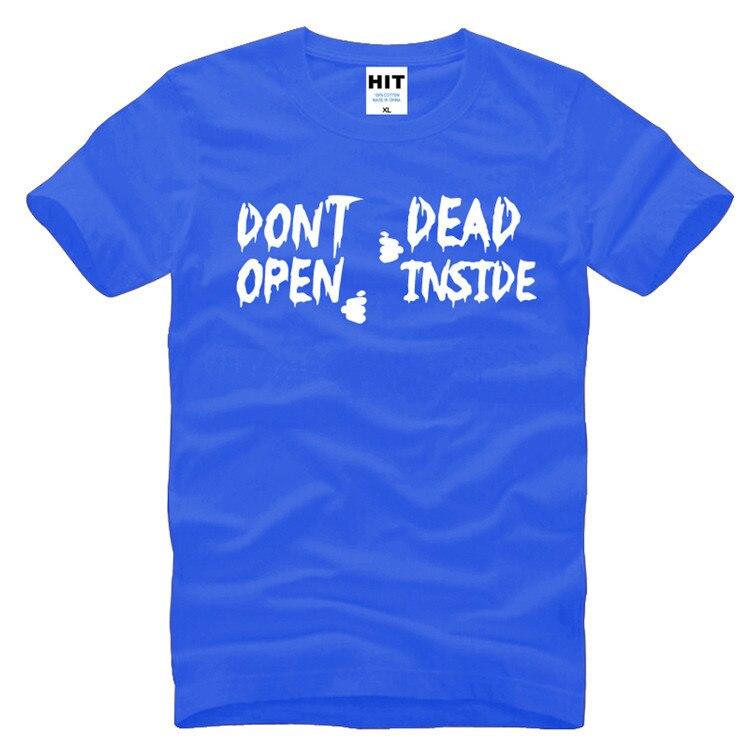 0fee31d905 Não Abra Morto Dentro da Letra Impressa Walking Dead Criativo Engraçado Da  Novidade Camisa de T Dos Homens T-shirt dos homens 2016 O Pescoço Camiseta  de ...