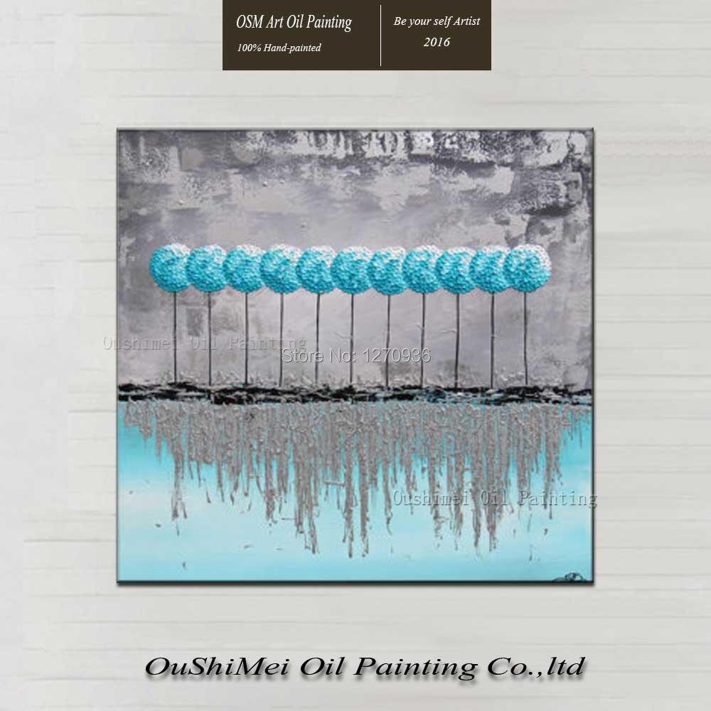 Bleu lac arbres vie organiser ombre croissante dans l'eau gris ciel paysage beau décor à la main peinture à l'huile sur toile