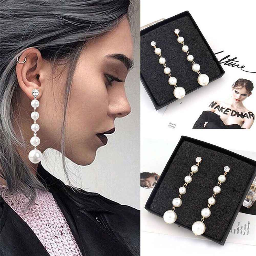 1Pair New Elegant Pearl Long Tassel Dangle Earrings for Women Girls Sweet Round Stud Earrings Drop Earring Fashion Jewelry Gifts