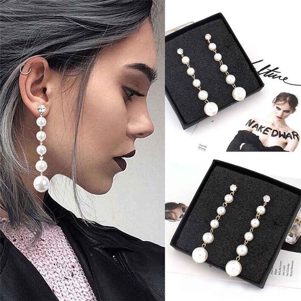 Women/'s Glitter Big Pearl Drop Ear Studs Dangling Earrings Fashion Jewelry