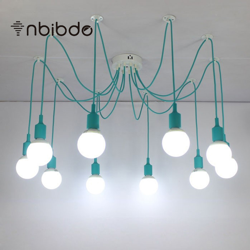 Modern cyan chandeliers 3 16 arms retro adjustable edison bulb lamp modern cyan chandeliers 3 16 arms retro adjustable edison bulb lamp e27 art spider ceiling luminaire fixture in chandeliers from lights lighting on aloadofball Image collections