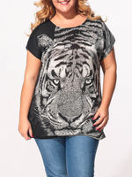 Femininas Lady Tops Fashion 3D Tiger Two Sides Print T shirt Women Topsloose Summer Clothes Harajuku Shirt Camiseta