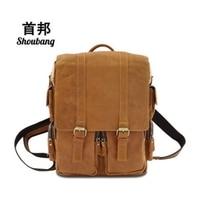 SHOUBANG Fashion Women Bags Genuine Leather Men Backpack Vintage Matte Leather Solid Laptop Bag Rucksack Casual
