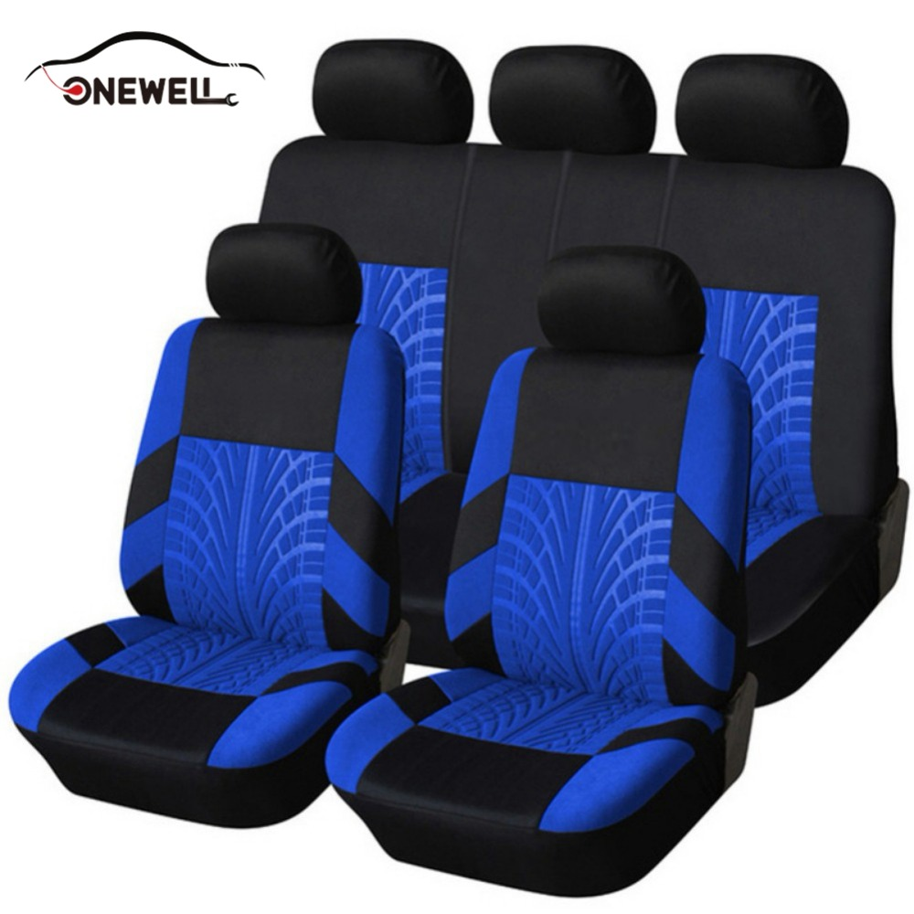 ONEWELL 1 Set Embroidery Car Seat Covers Set Universal Fit Most Cars Covers Tire Track Detail Styling Protector 5 Colors