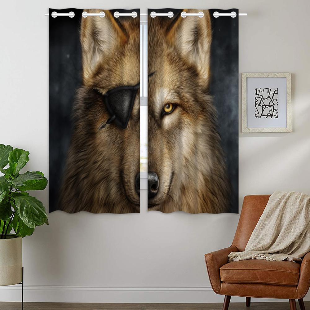 Blackout Curtains 2 Panels Grommet Curtain for Bedroom Cool One Eyed Wolf Brown in Curtains from Home Garden
