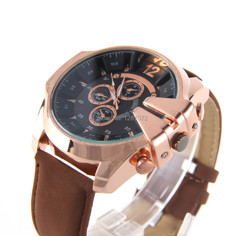 Leather Strap Rose Gold Watch Us 11 8 Men Watches Fashion V6 Super Speed Pu Leather Strap Rose Gold Case Quartz Wrist Wathes Military Clock Top Selling Fress Shipping In Quartz