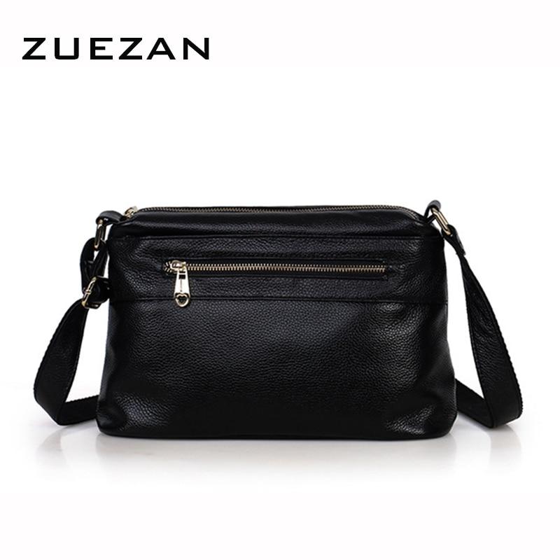 3ジッパー革メッセンジャーバッグ、女性の本革ショルダーバッグ、カジュアル100%ナチュラルカウスキンクロスボディショルダーバッグa381  グループ上の スーツケース & バッグ からの トップハンドルバッグ の中 2