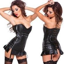 Для женщин; большие размеры; S-XXL; пикантные кожаные корсеты в стиле стимпанк; Бюстье для женщин; облегающие Корсеты в стиле панк