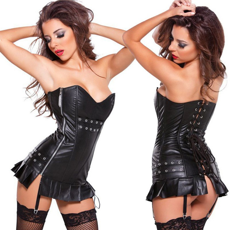 Women Plus Size S-XXL Sexy Leather Steampunk   Corsets     Bustiers   For Women Slim Shapers Punk Corselets