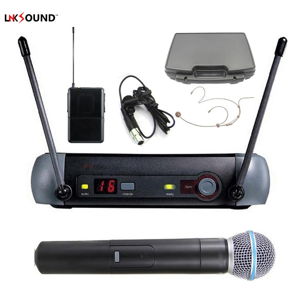 Lnksound pqx24 58a Professional wireless microphone system mics handheld + headset + lavalier lapel microfone uhf 790-820Mhz