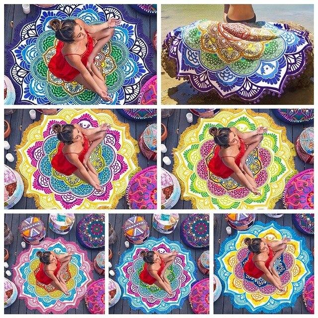 Hot Beach Towel Tassel Yoga Mat Carpet Tapete Doormat Tapestry Indian Mandala Blankets Bathroom Carpet Camping Mattress 7 Color 3