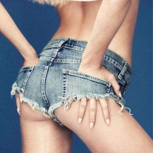 2019 Summer Thong Jeans for Women Girls Blue Micro Short Jeans Mini Short Sexy Femme Denim Shorts Female with Low Waist Short