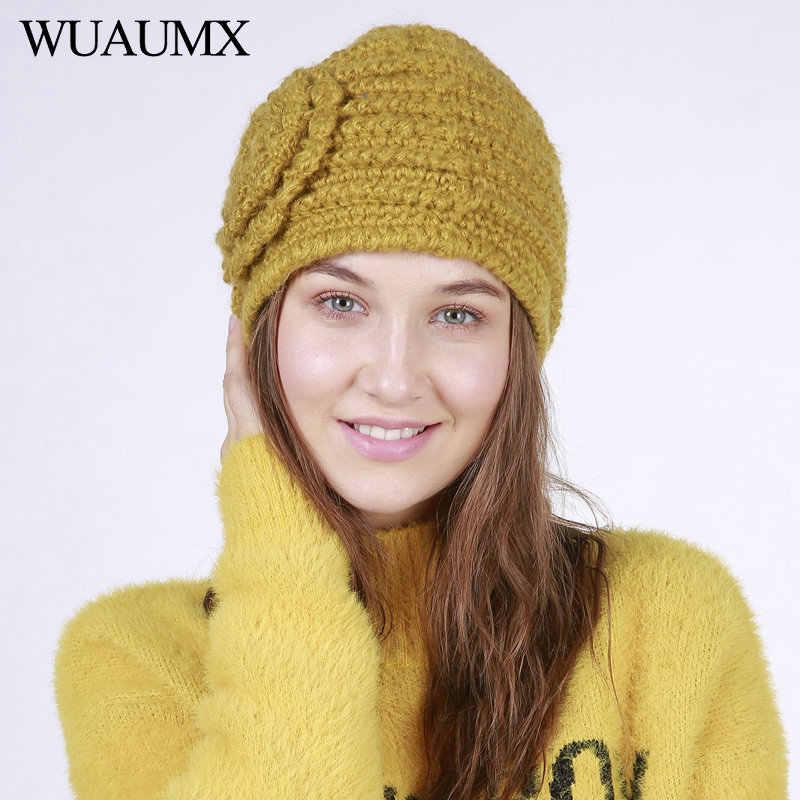 c61726a5cda Wuaumx NEW Winter Hats For Women Solid Yellow Blue Skullies Beanies Hat  Warm Woolen Knitted Flower