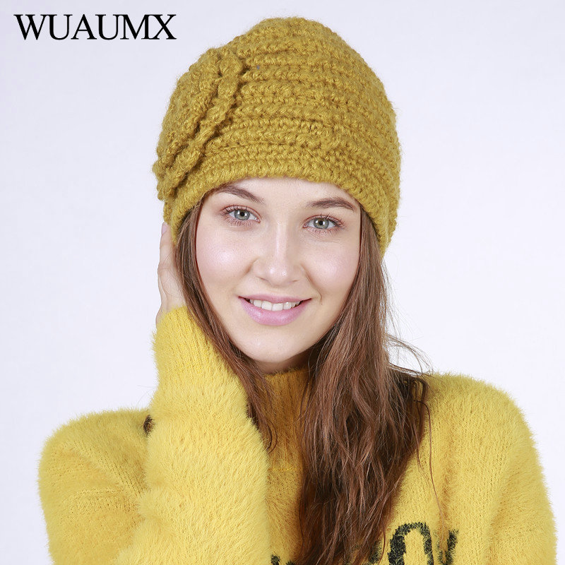 Wuaumx NEW Winter Hats For Women Solid Yellow Blue   Skullies     Beanies   Hat Warm Woolen Knitted Flower Cap For Ladies czapka zimowa