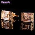 Romeda Homens Clássica Bronze Gemelos Abotoaduras de Cristal Claro Diamante Imitado Botões de Punho de Ouro Jóias Presentes Para O Amigo/Marido