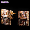Romeda Men Classical Brass Crystal Cufflinks Clear Imitated Diamond Gemelos Golden Cuff Buttons Jewelry Gifts For Friend/Husband