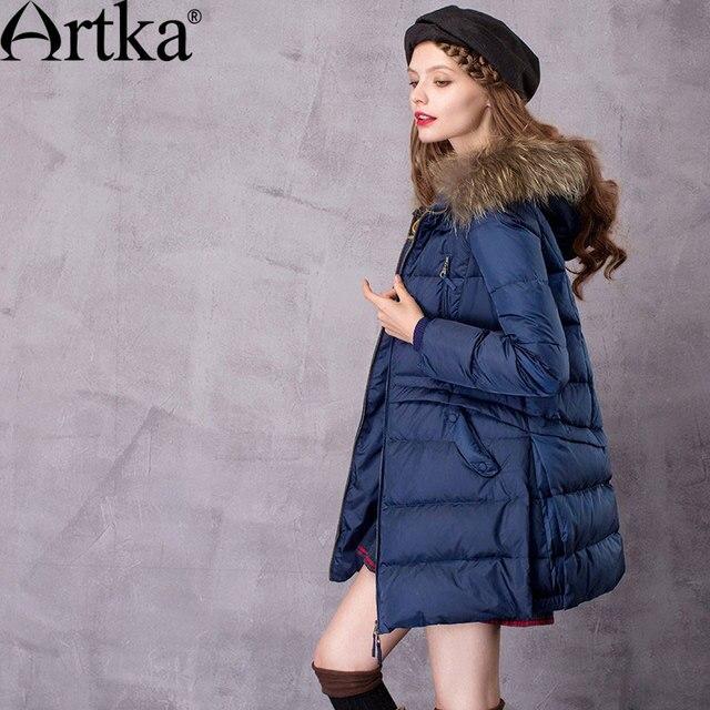Artka Для женщин на Длина Пух пальто с енота Мех капюшон с 90% Парка на пуху женский длинный Зимний пуховик ZK11669D