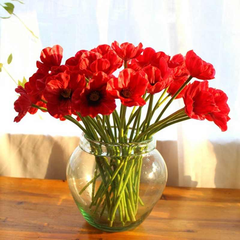 Plastic Wedding Decoration Furniture Artificial Mini Real Touch Poppies Flowers Decorative Bouquet for Home Decor