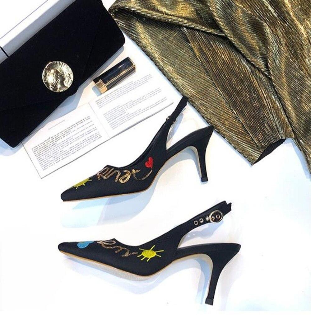 Calientes Feminino Sandalias 2018 Zapatos Sexy Calle Negro La Altos Hebilla Sapatos Encaje Bombas Moda Zapatillas Ventas Picture Verano As Correa De Tacones FYwZ8qTw