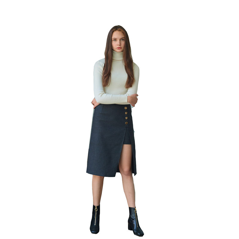 6dff2d0d2e5d26 Black high waisted side button up slit midi skirts women ladies basic OL  formal slim fit knee length cotton straight work skirts