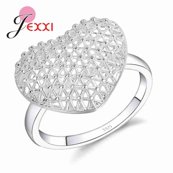 Openwork High Quality 925 Sterling Silver Hollow Design Exaggerated Style Love Heart Shape Finger Ring Bride Jewelry Accessories