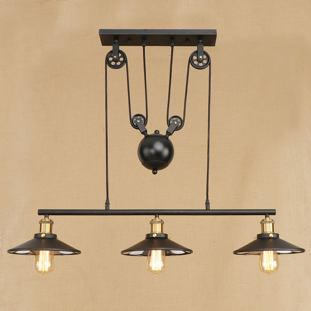 где купить Retro Hanging black Pendant Lamps E27 LED Light glass lampshade adjustable vintage pulley for living Room restaurant Kitchen по лучшей цене