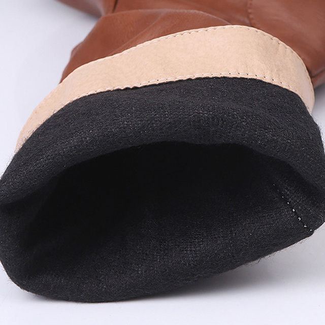 Women Autumn Winter Boots Ladies Fashion Increase Boots Flat Shoes Over the Knee Thigh Pleated High Tube PU Leather Long Boots