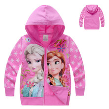 Snow Queen Cartoon Elsa Jacket Clothes Cotton Anna Hoodie Outwear Kid Girl Character Clothes Coats With Zipper for 2-8 Age Girls