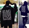 Высокое Качество Негабаритных Вышитые Капюшоном С буквы Мужчины Женщины Хип-Хоп Толстовки Уличной Городской Одежды Черный Прохладный Балахон