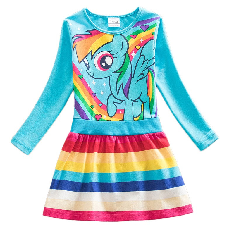 Dxton Kids Dress For Girls Cartoon Girls Clothes With Animal Girls Dress Long Sleeve Autumn and Winter Dress Children Clothing 3