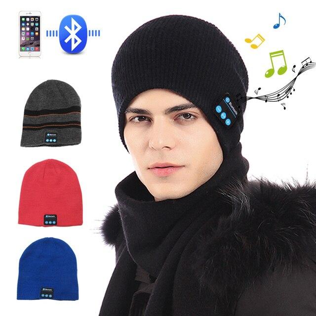 New Fashion Beanie Hat Cap Wireless Bluetooth Earphone Smart Headset  headphone Mic Speaker Winter Outdoor Sport Stereo Music Hat 2b13e45a6b0a