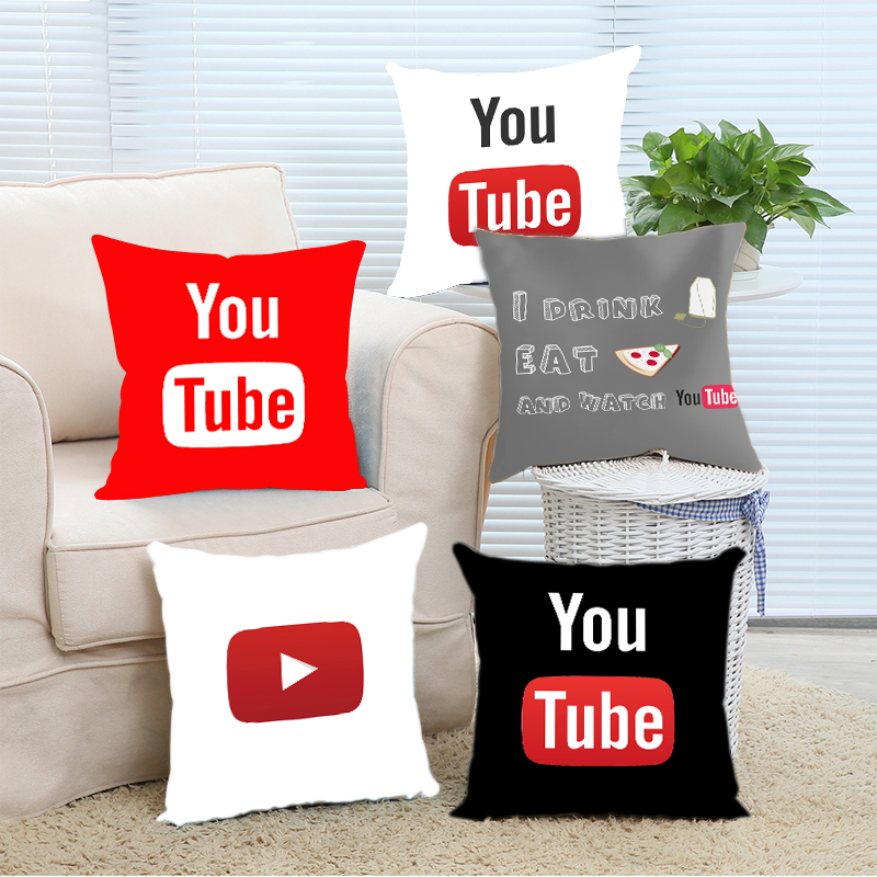 Theme I drink tea eat pizza and watch youtubers Pillow Cover 16x16 18x18 20x20 24x24 inch