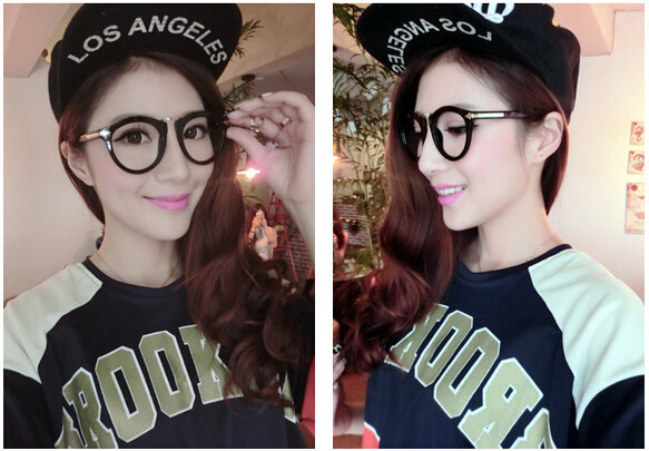 c5c1eddd275 Arrows Neon solid color round eyeglasses frame hip hop stylish ...