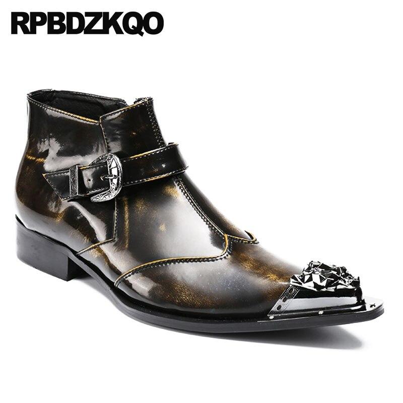 Pleine Chaussures Bottes Plus Métalliques Zipper Tan Pointu Fleur La Cuir Bout Taille Mariage Formelle Hommes Chunky Robe Concepteur De Chaussons Véritable En fb76yg