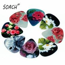 SOACH 50PCS 1.0mm high quality guitar picks two side pick Blomming Flowers picks earrings DIY Mix picks guitar