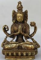 Ev ve Bahçe'ten Statü ve Heykelleri'de Tibet Tibet Budizm Pirinç 4 kollar Chenrezig Buda Avalokiteshvara Koltuk Heykeli S0705 Indirim 35%