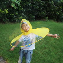 Children Foldable Rain Hat Camping Picnic Cute Cartoon Duck protection from rain waterproof rubber layer Cape TX005