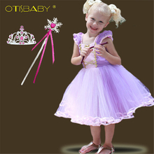 Summer Infant Dresses First Birthday Girl Party Dress Rapunzel Cosplay Costumes Baby Purple Tulle Tutu Dress Christening Gown недорого