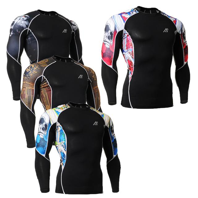 Mens Tights Underwear Long Sleeve Compression Shirts Jerseys Skins Tight Body Building Tops Man's 3D Printing T-Shirts