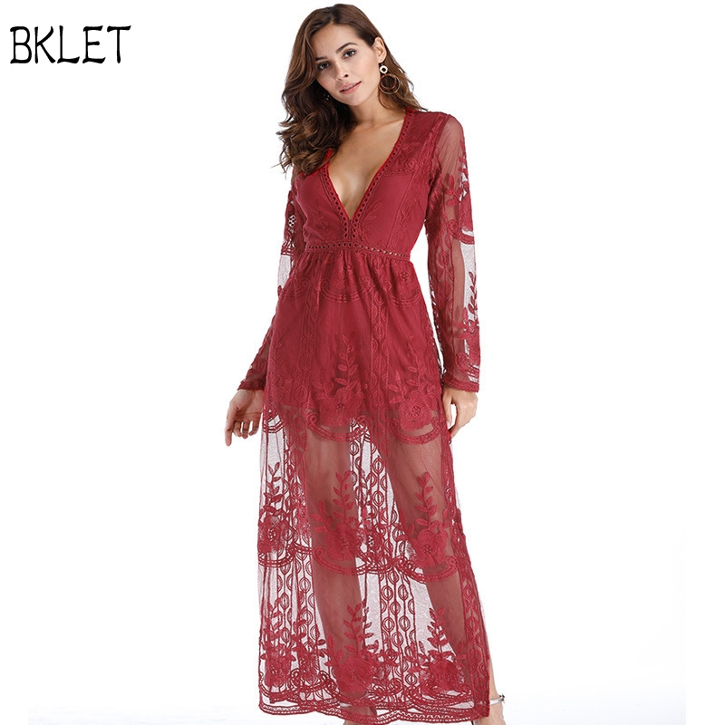 2018 New Arrival Lace Sleeve High Slit Surplice Elegant Lace Party Dress Floor Length Casual Long Maxi Dress High Quality