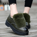 Women Creepers Winter Short Plush Warm Flat Platform Shoes Oxfords Size 35-40 Patchwork Round Toe Fur Leather Ladies Shoes NX3
