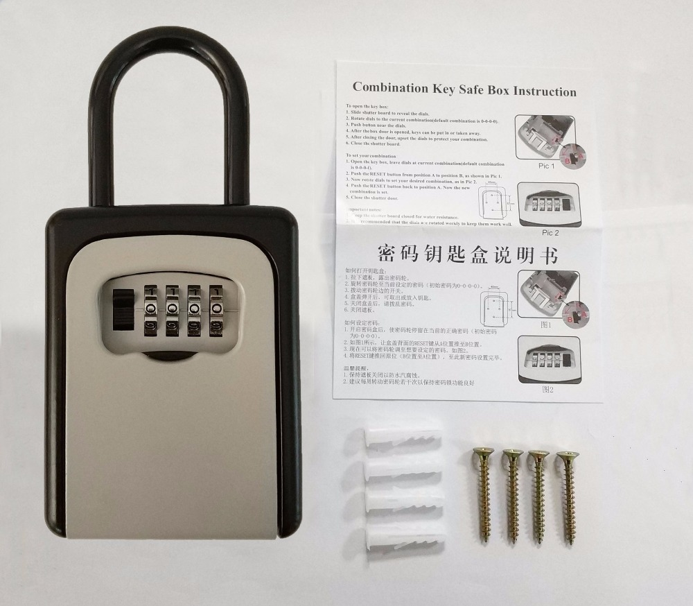Outdoor Key Safe Box Keys Storage Box Padlock Use Four Password Lock Alloy Material Keys Hook Security Boxes