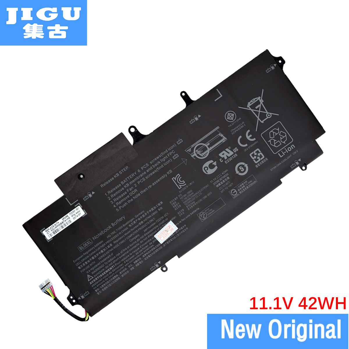 JIGU BL06042XL HSTNN-W02C 722236-2C1 BL06XL Original Laptop Battery For HP EliteBook Folio 1040 G0 G1 G2 jigu laptop battery bl06042xl bl06xl hstnn db5d hstnn ib5d hstnn w02c for hp for elitebook folio 1040 g0 g1 l7z22pa