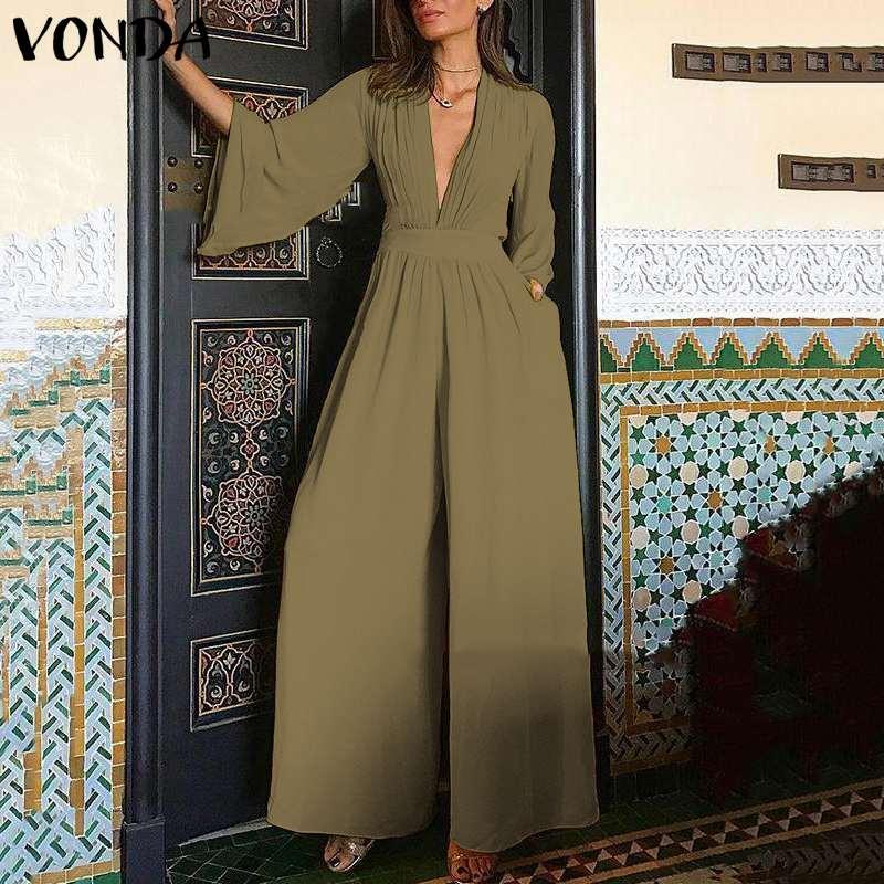2020 VONDA Women Jumpsuit  Plus Size Romper Sexy 3/4 Flare Sleeve V Neck Playsuit Wide Leg Pant Vintage Overalls Oversized S-5XL