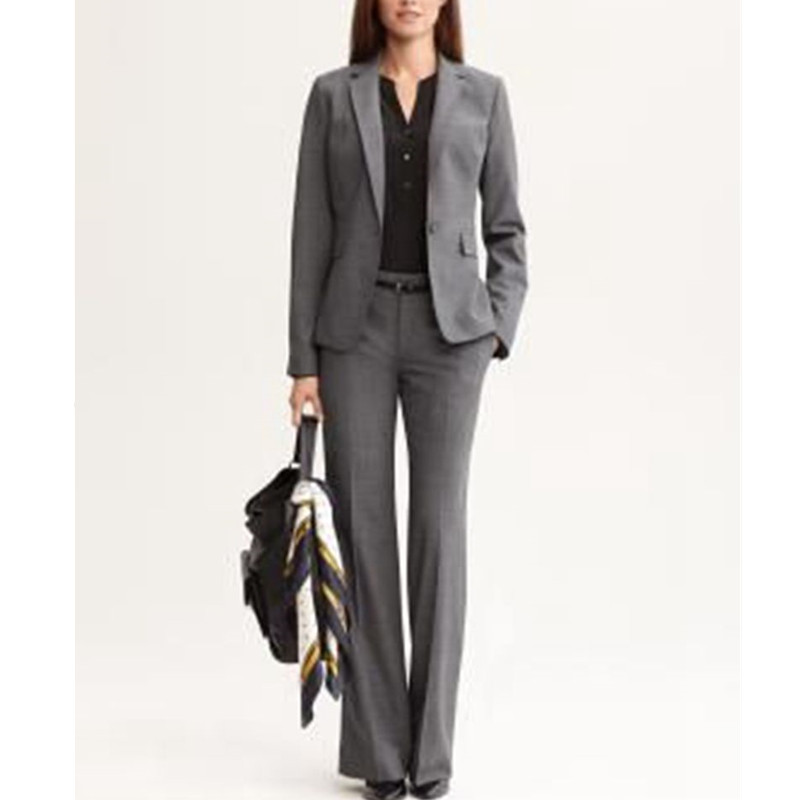 Women Pant Suits Dark Grey Women Ladies Business Office Tuxedos ...