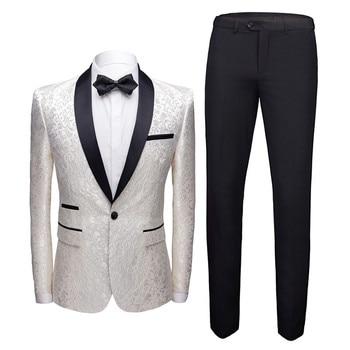 (Coat + Pants) Suit Set 2 Piece Luxury Court Wind Groom Wedding Dress Party High-end Custom Slim Lapel Blazer Men's European