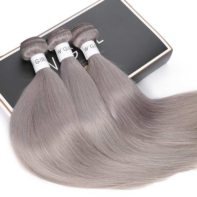 Hair Straight Grey Brazilian Remy Grey Colored Hair Extension