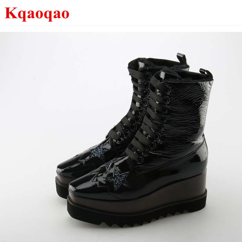Luxury Brand Women Winter Warm Boots Platform Shoes Wedges Short Booties Fur Decor Snow Boots Front Lace Up Star Pattern Boots round toe fur women snow boots lace up short booties fashion flats korea stylish winter warm shoes ankle boots luxury brand shoe